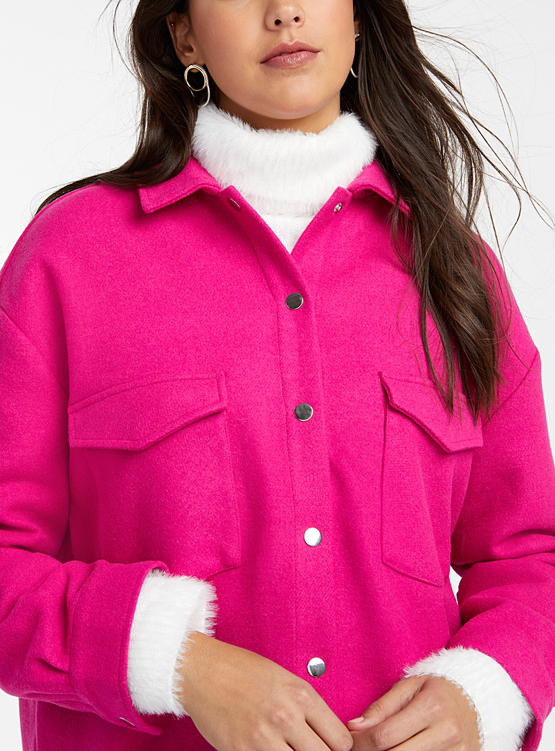 Icône Patterned Red Wool shirt jacket for women