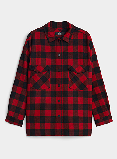 Icône Patterned Red Check wool shirt jacket for women