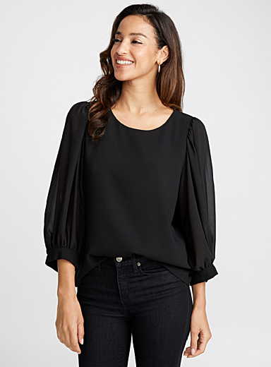 Puff-sleeve crepe blouse