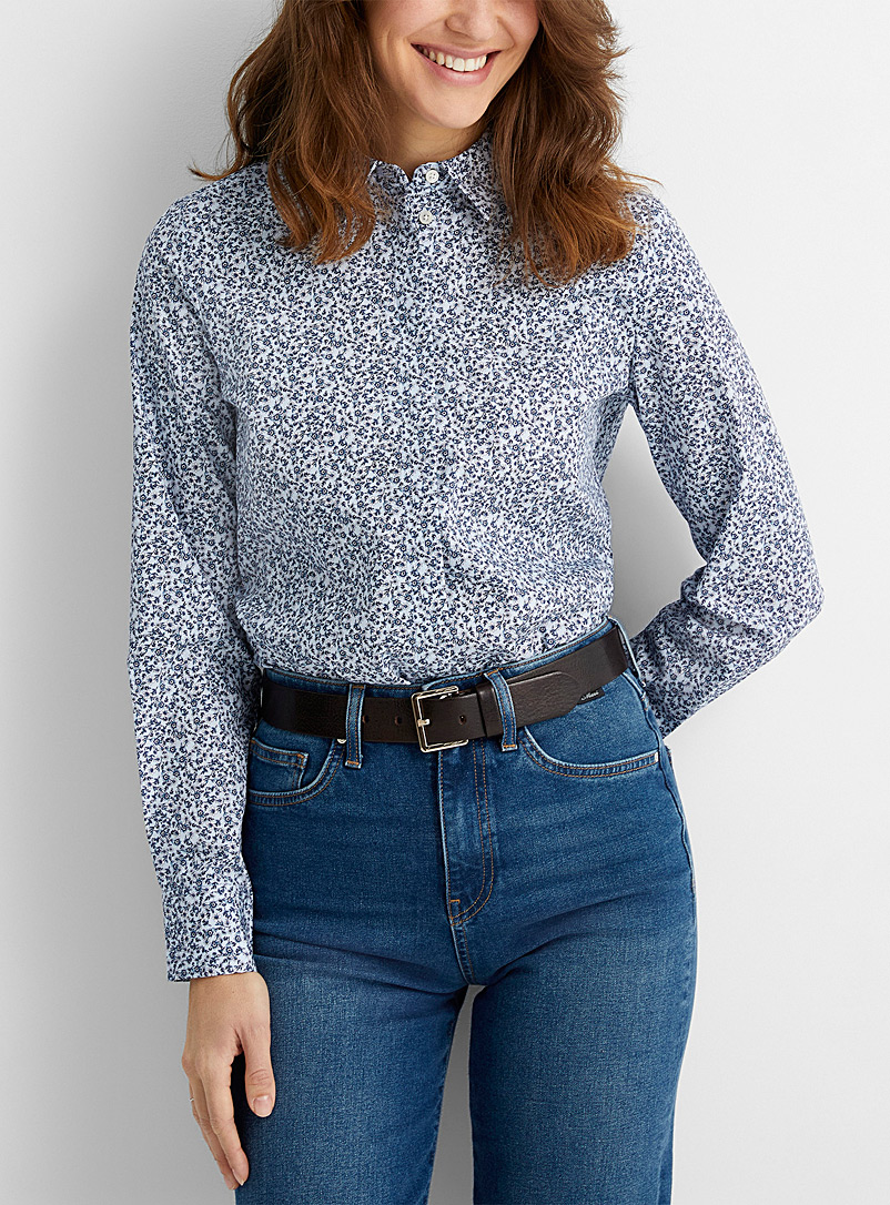 Contemporaine Patterned Blue Patterned poplin shirt for women