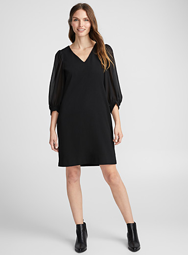 Puff voile sleeve dress