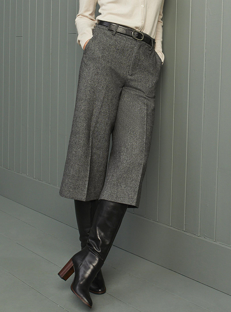 Herringbone wool cropped pant
