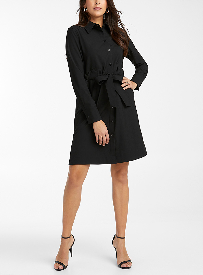Tie-belt recycled polyester shirtdress