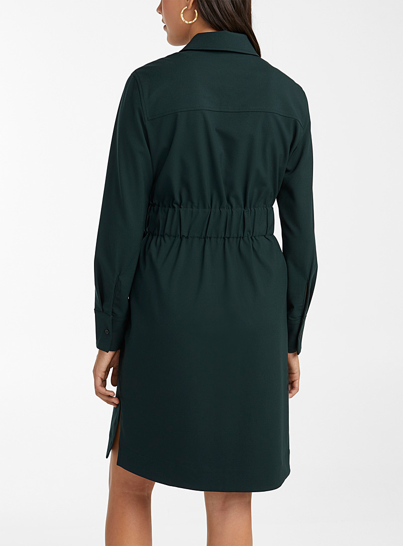 Icône Black Tie-belt recycled polyester shirtdress for women