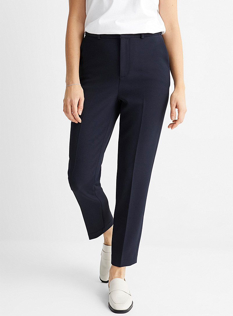 Contemporaine Marine Blue Thick crepe ankle pant for women