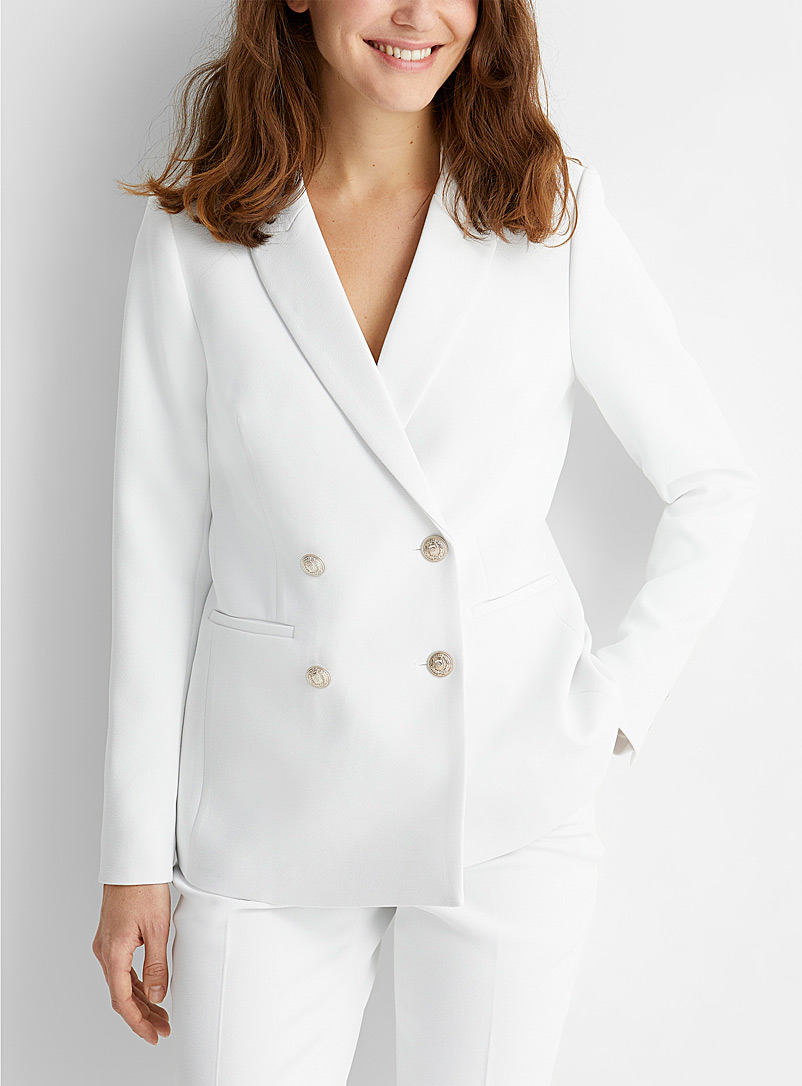 Thick crepe metallic button jacket