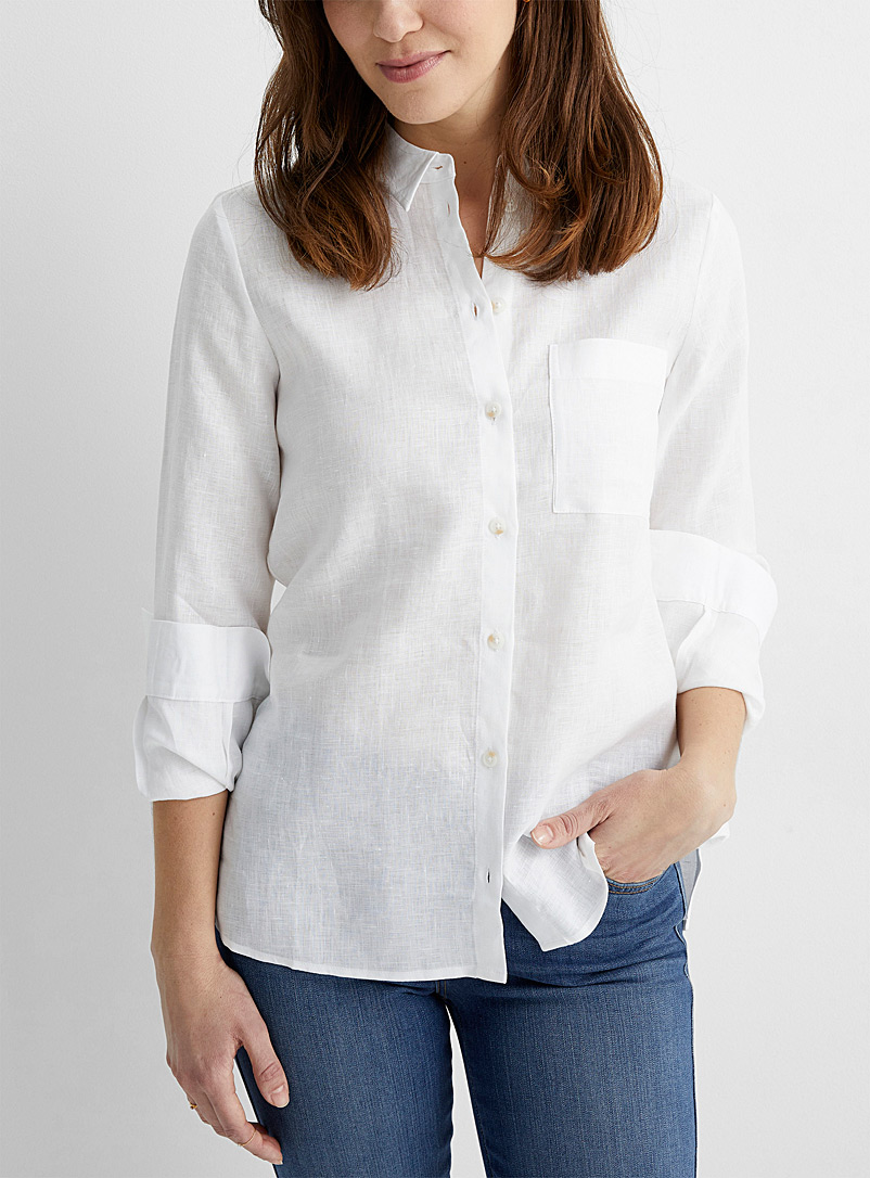 Contemporaine White Silky linen loose shirt for women