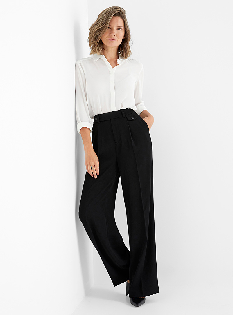 Contemporaine Taupe grey Soft pleated wide-leg pant for women