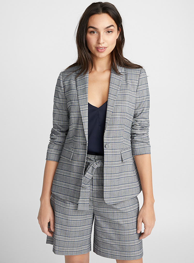 Touch of colour check jacket - Blazers - Patterned Blue