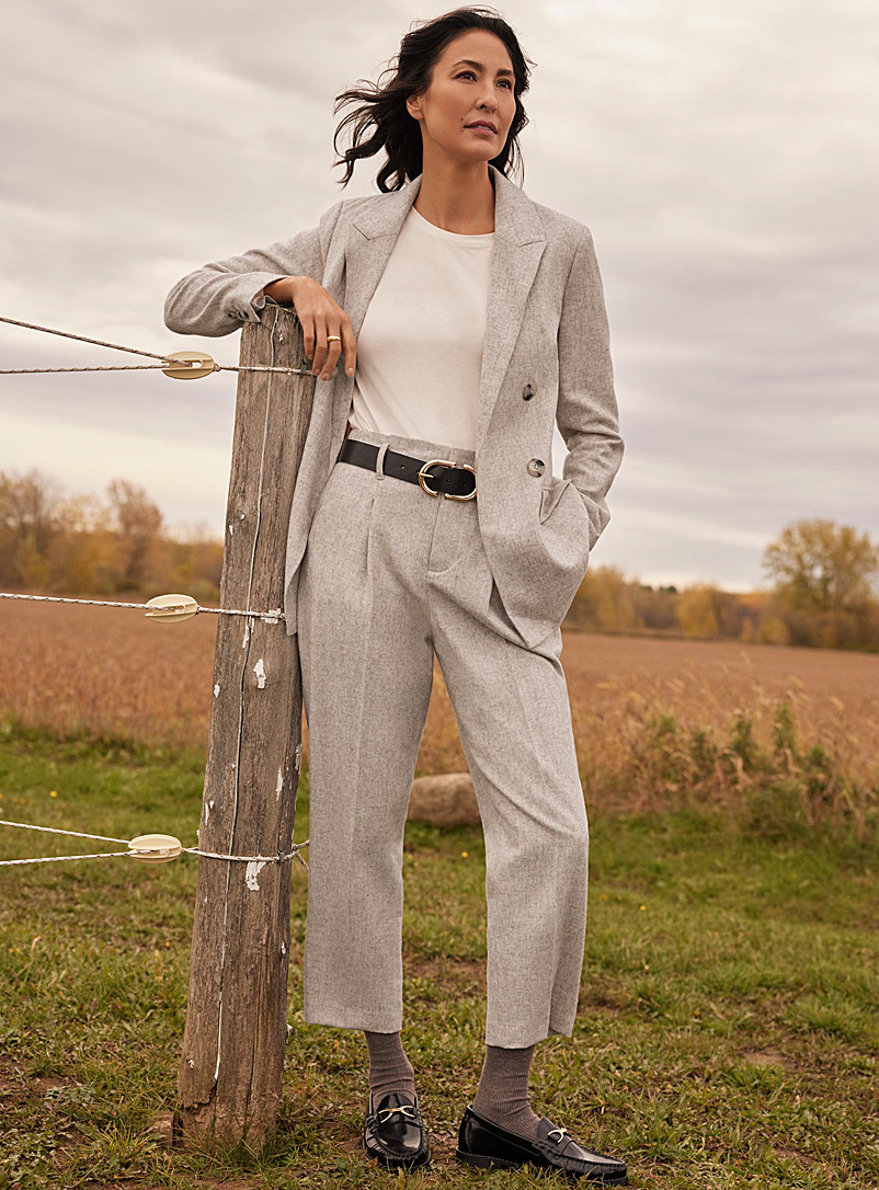 Contemporaine Sand Fine wool knotted-waist pants for women