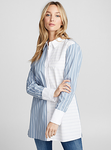 Twin-stripe shirt tunic