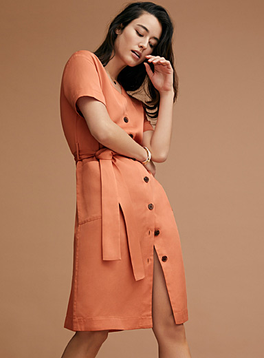 Lyocell twill belted dress
