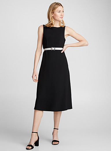 Minimalist fit-and-flare midi dress