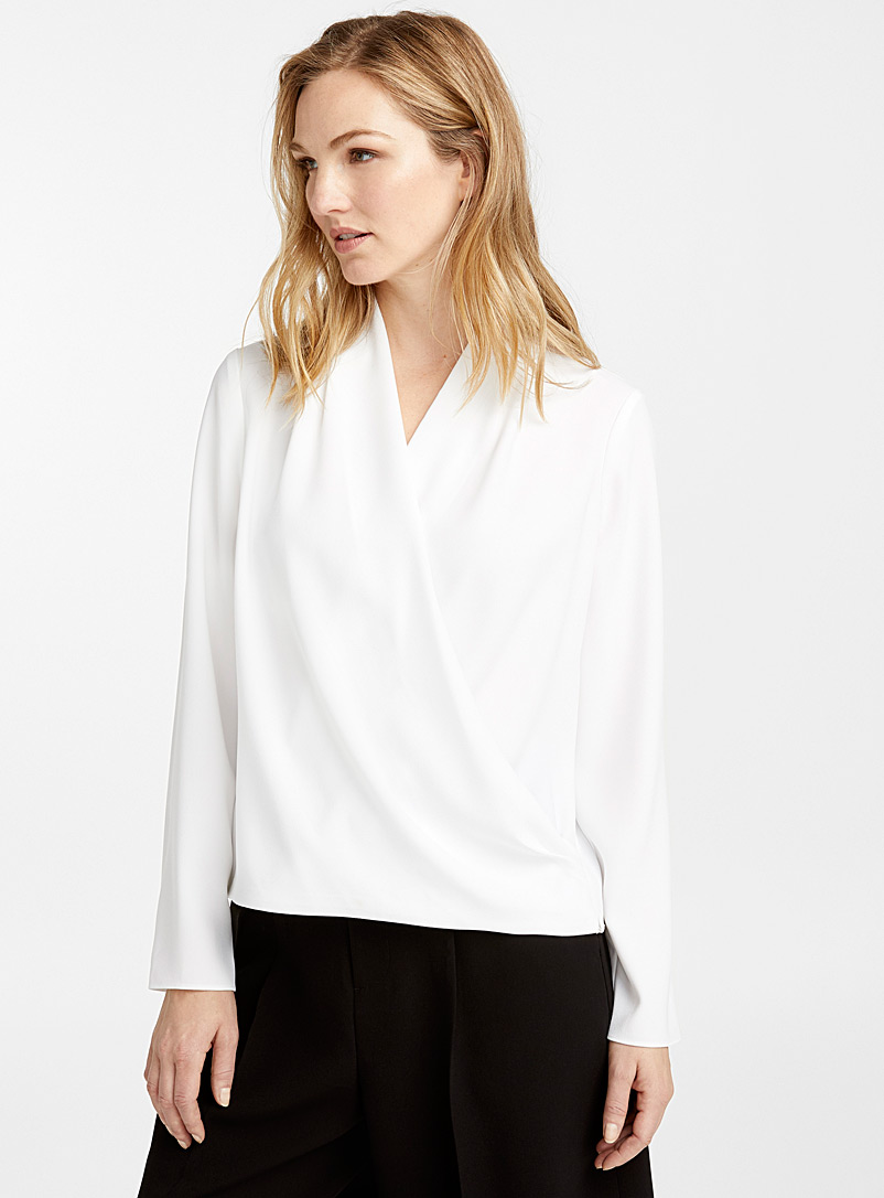 Crossover draped blouse - Blouses - Ivory White