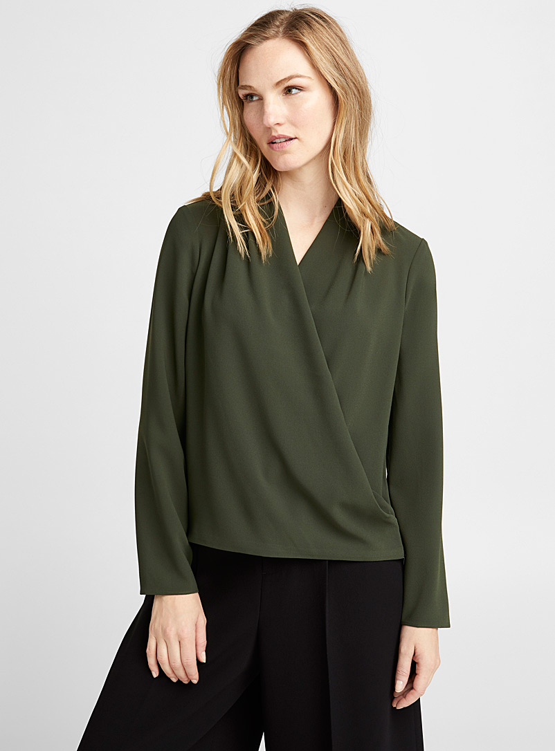 Crossover draped blouse - Blouses - Mossy Green