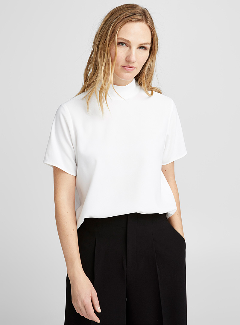 High-neck loose blouse - Blouses - Ivory White