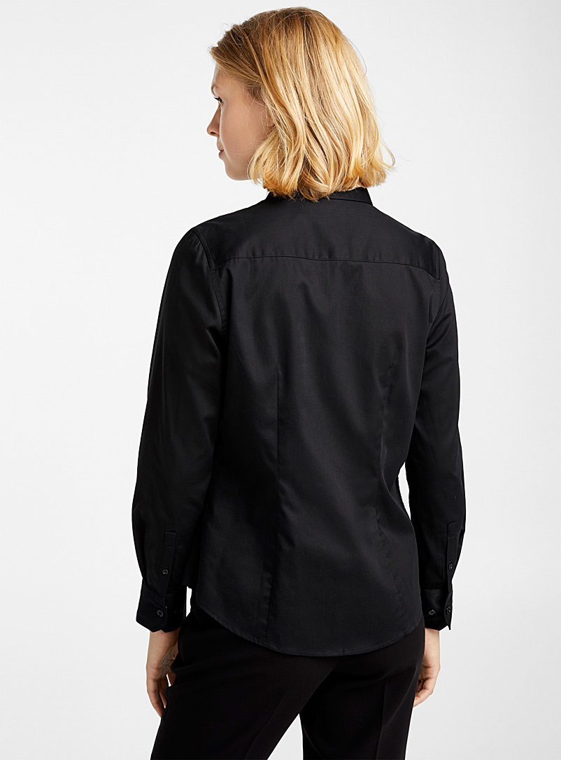 Solid polished poplin shirt - Shirts - Black