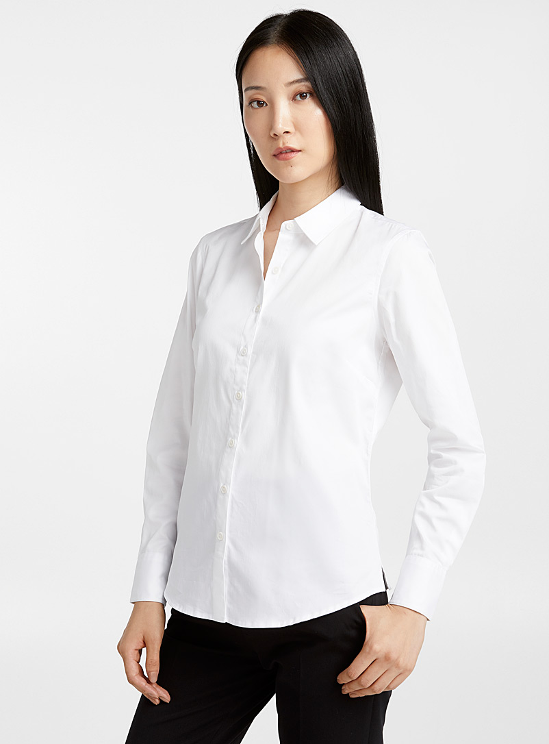 Solid polished poplin shirt - Shirts - White