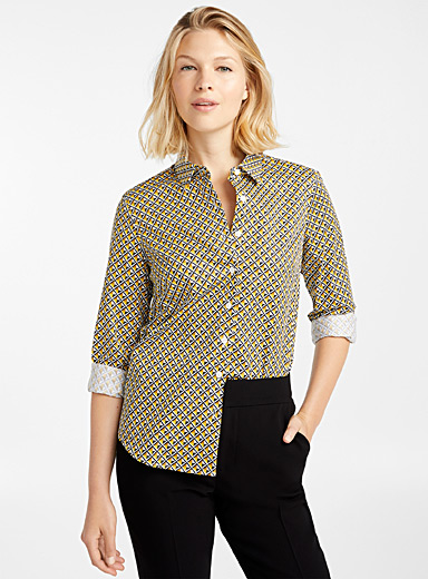 Polished poplin patterned shirt