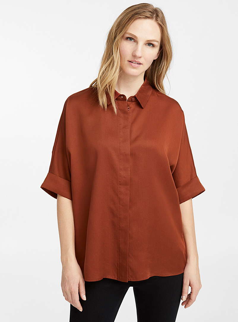 Loose TENCEL lyocell minimalist shirt - Shirts - Brown
