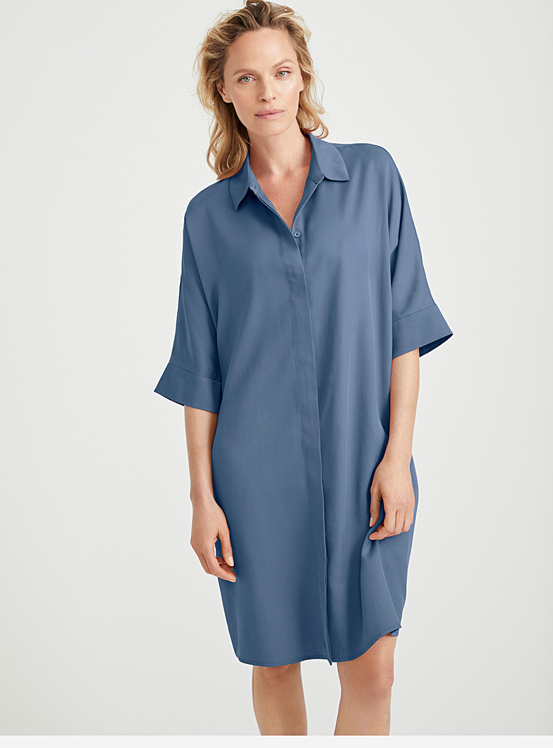 Contemporaine Dark Blue Loose TENCEL* Lyocell shirtdress for women