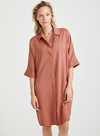 Contemporaine Dusky Pink Loose TENCEL* Lyocell shirtdress for women