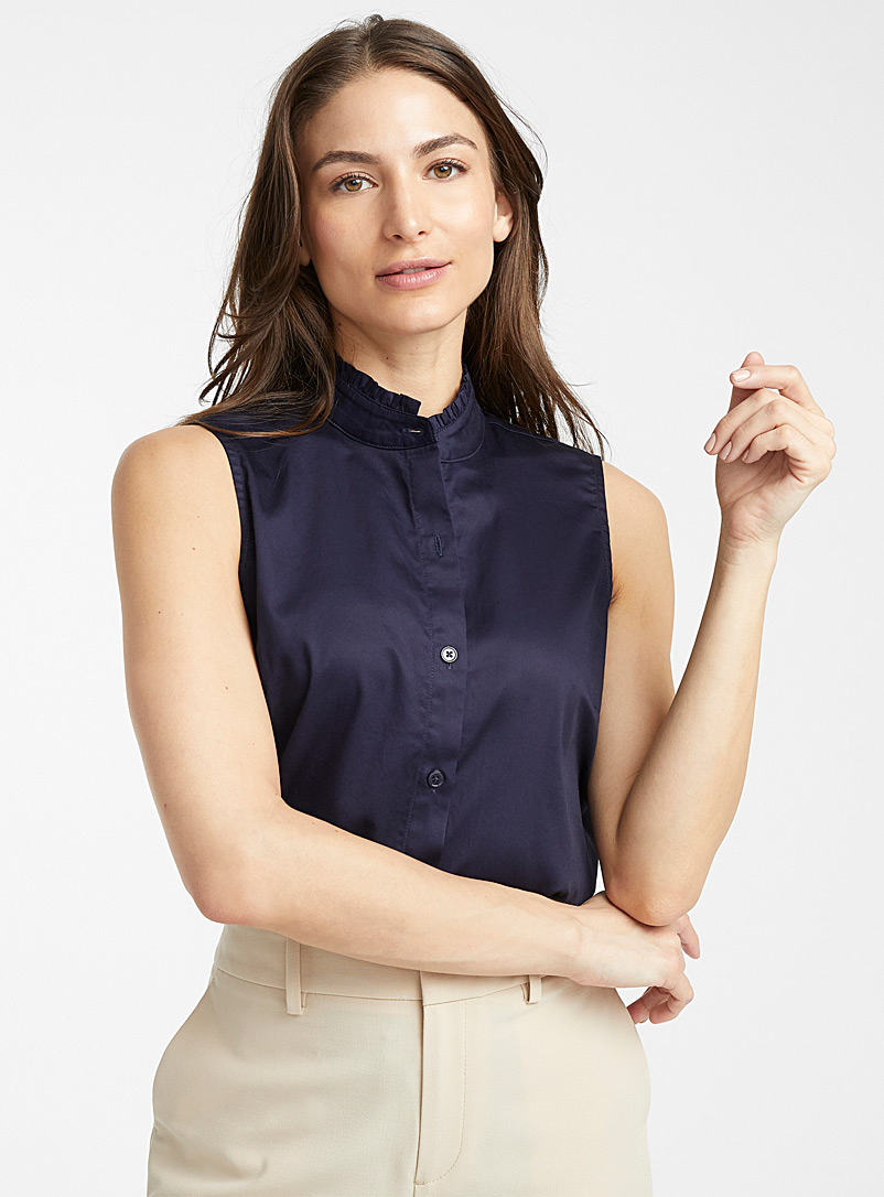 Contemporaine Marine Blue Organic cotton ruffle-collar shirt for women