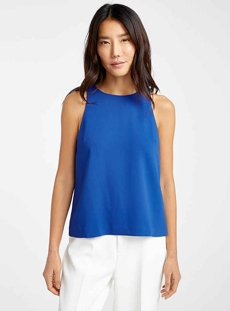 Cropped minimalist camisole - Blouses - Sapphire Blue