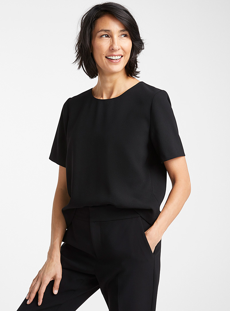 Contemporaine Black Minimalist boxy blouse for women