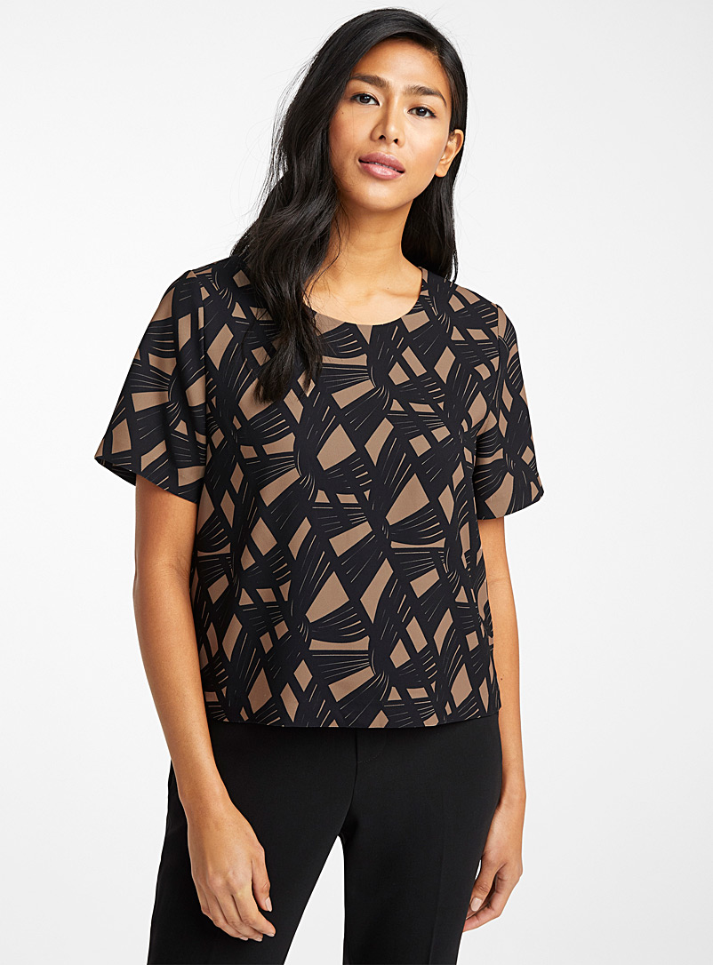Contemporaine Patterned Brown Minimalist boxy blouse for women