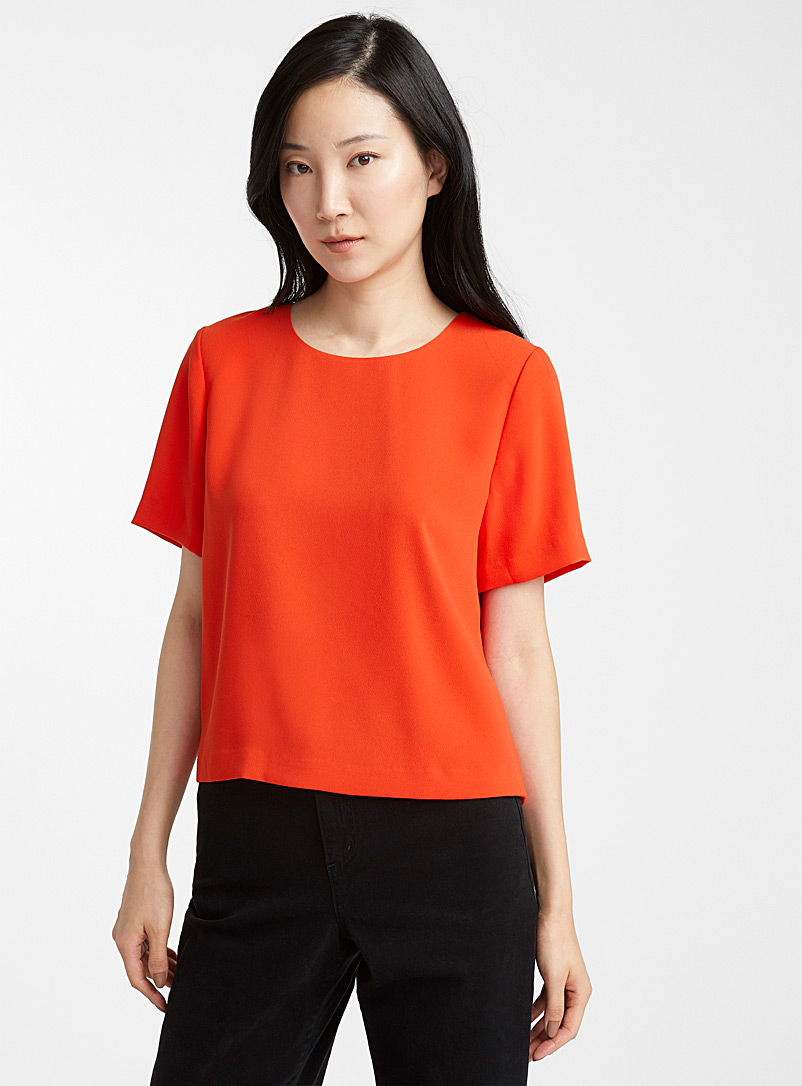 Contemporaine Orange Minimalist boxy blouse for women