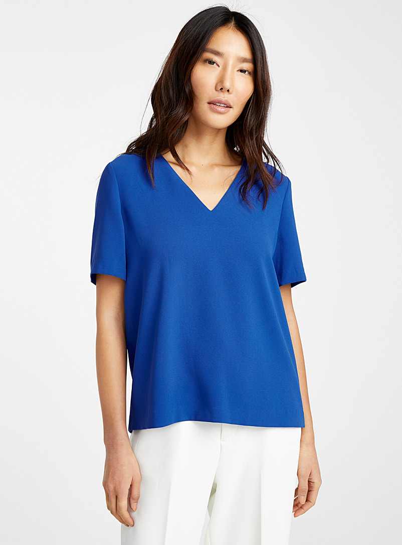 Contemporaine Sapphire Blue Minimalist V-neck blouse for women