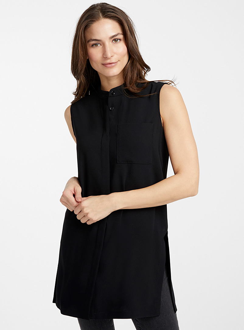 Sleeveless mock-neck tunic - Blouses - Black