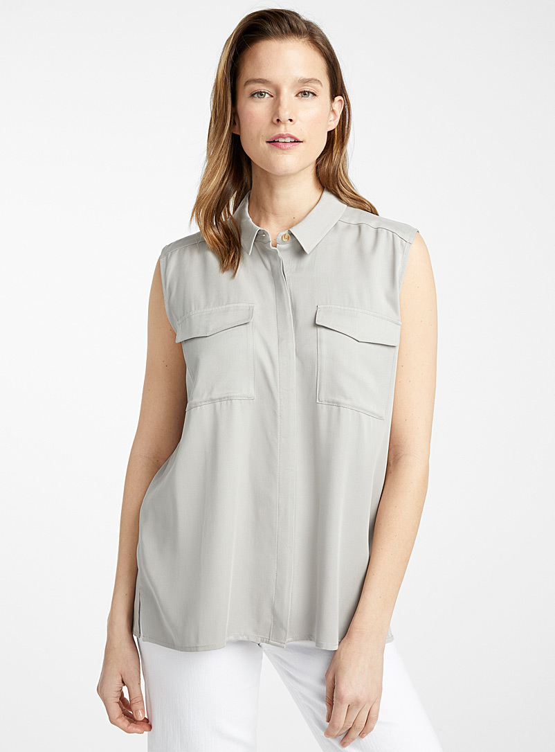 Contemporaine Light Grey Utility pocket sleeveless shirt for women