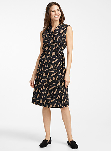 Contemporaine Patterned Brown Metal buckle dress for women