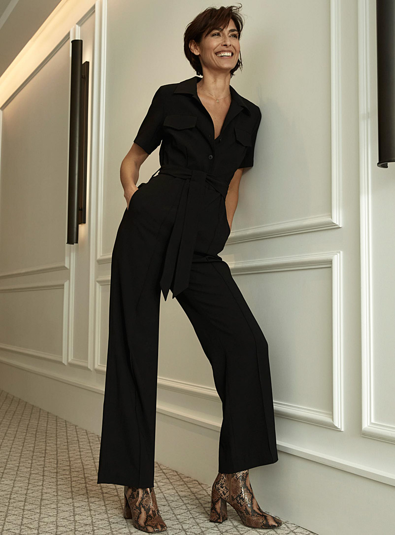 Contemporaine Black Belted wide-leg jumpsuit for women