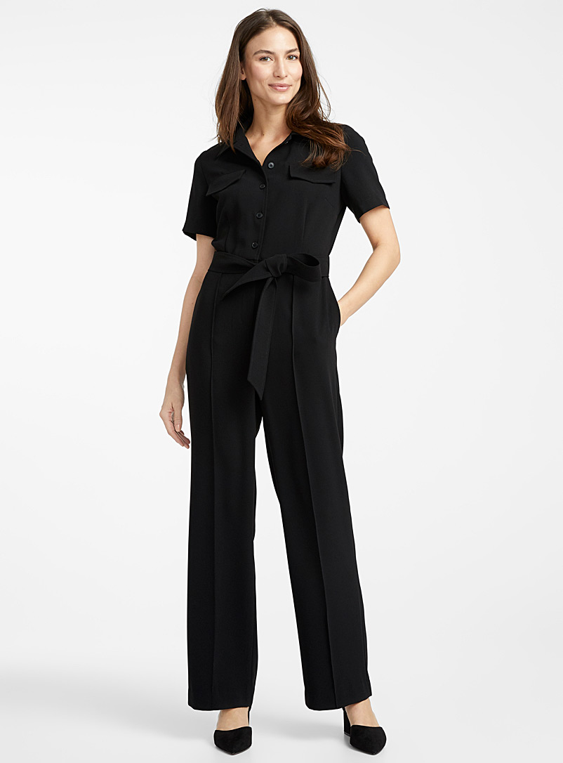 Belted wide-leg jumpsuit - Jumpsuits & Rompers - Black