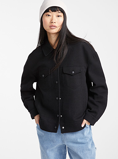 Faux-wool utility jacket