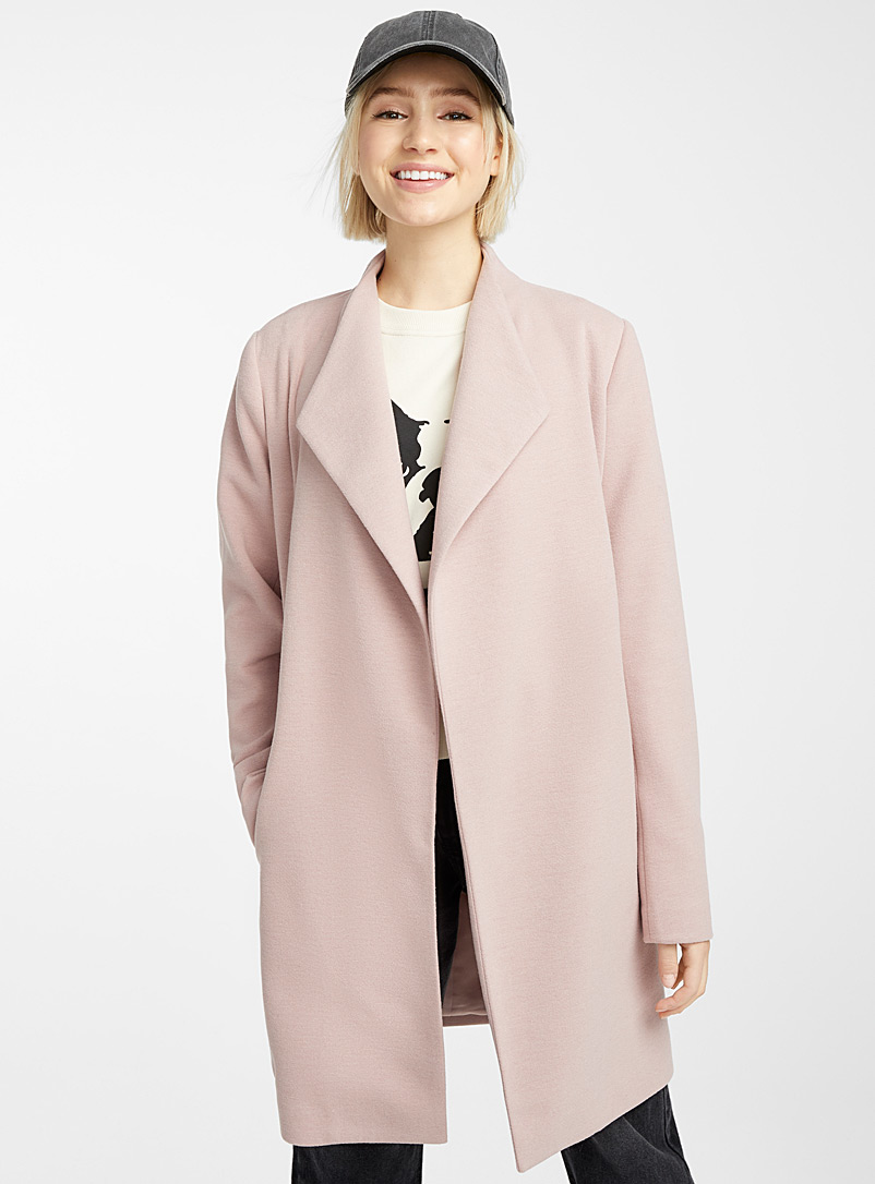 Twik Pink Soft jersey belted coat for women