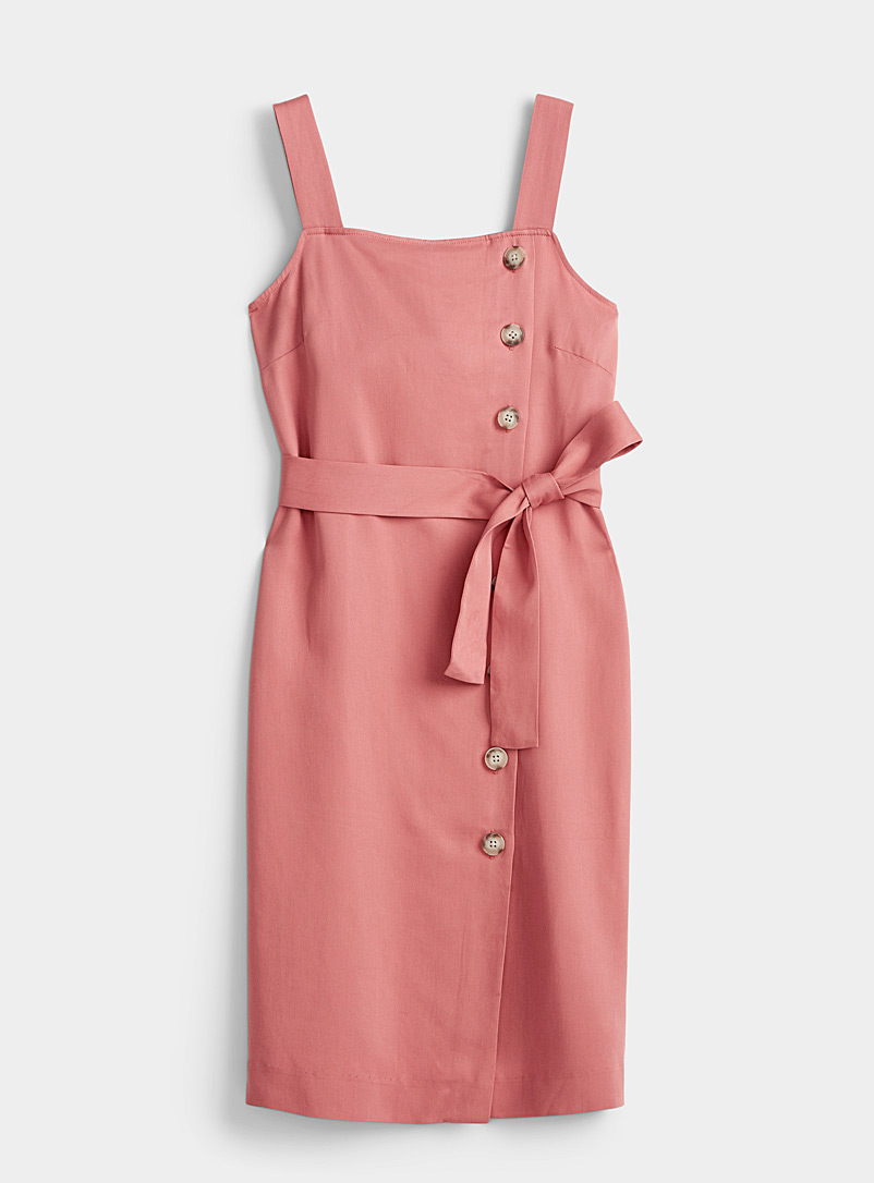 Contemporaine Dusky Pink Side-button apron dress for women