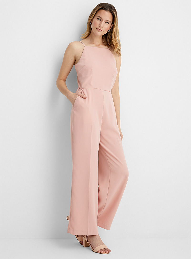 Contemporaine Pink Thin-strap fluid jumpsuit for women