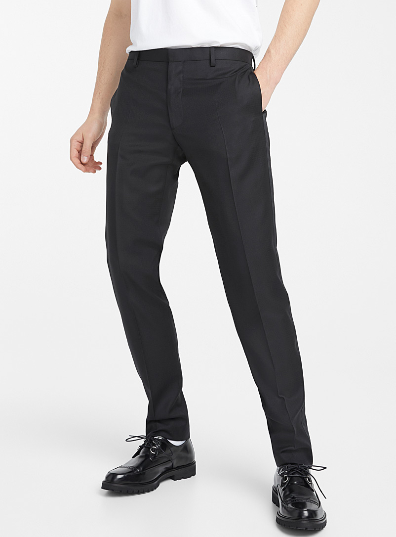 The Kooples Black Geometric herringbone tuxedo pant for men