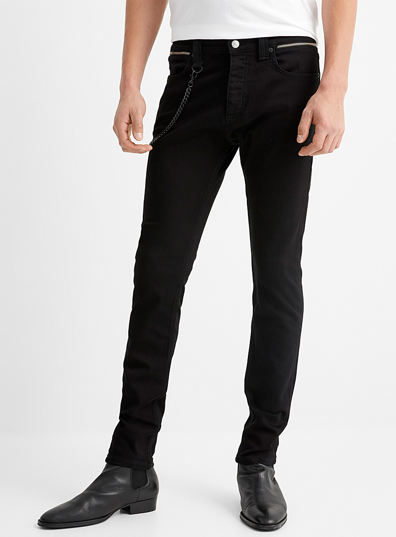 The Kooples Black Chain detail black cotton jean for men