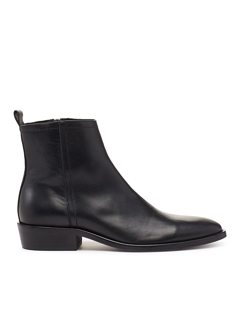 Smooth leather zipped boots - The Kooples - Black