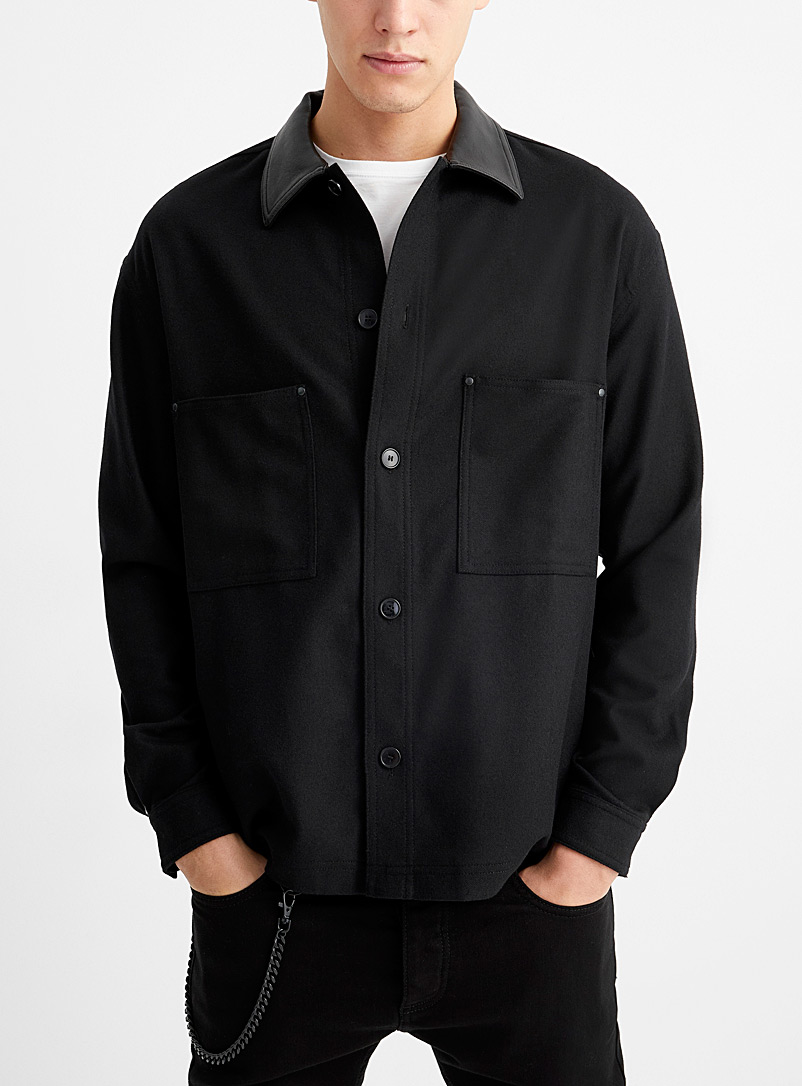 The Kooples Black Leather-collar wool shirt for men