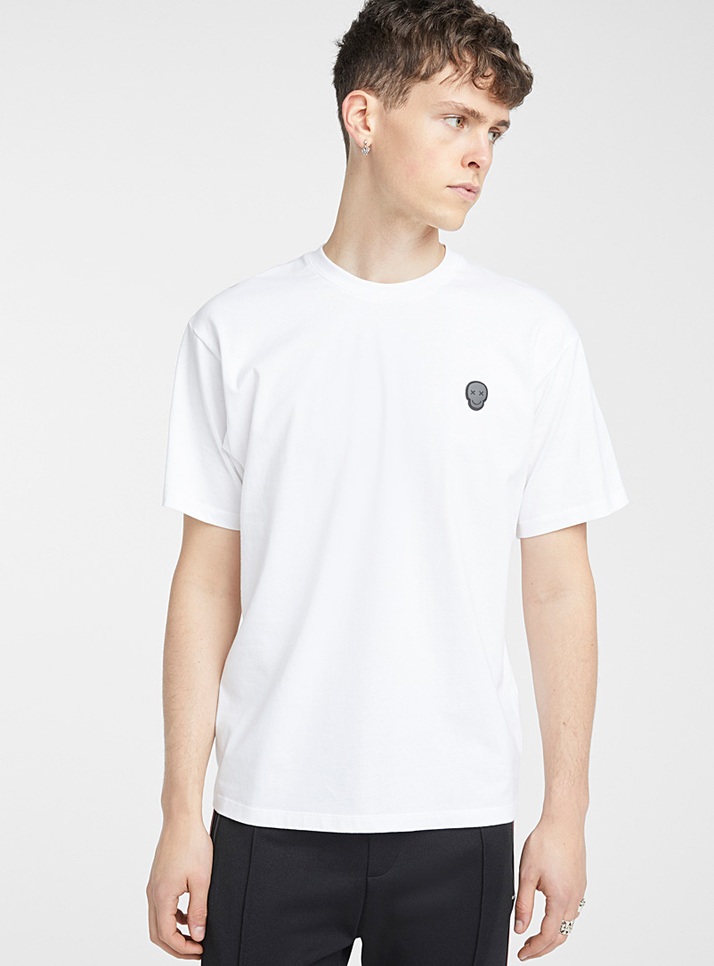 The Kooples: Le t-shirt Skull Patch Blanc pour homme