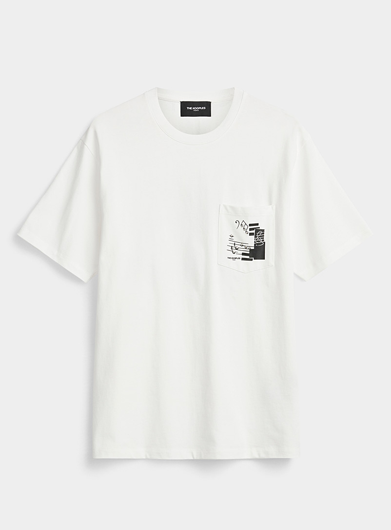 The Kooples White Printed-pocket cotton T-shirt for men