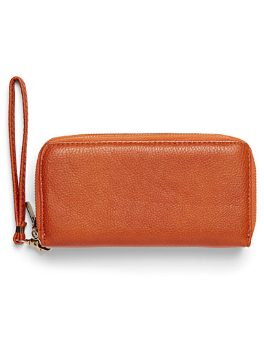 Pebbled faux-leather double zip wallet