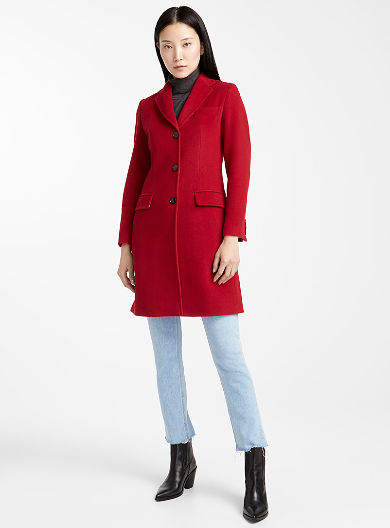 Three-button wool overcoat - Wool - Red