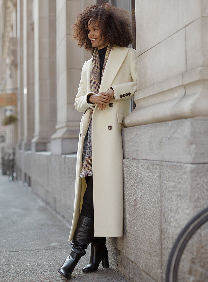 Long double-breasted wool coat - Wool - Ivory White